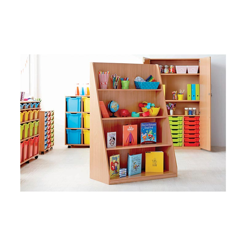 Tiered shelf library unit