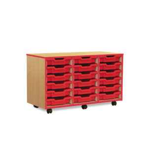 Coloured Edge Storage – 18 Shallow Tray Unit