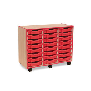 Coloured Edge Storage – 24 Shallow Tray Unit