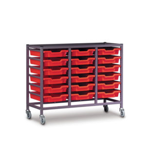 TecniStor Mobile Metal Trolleys – 3 column tray unit