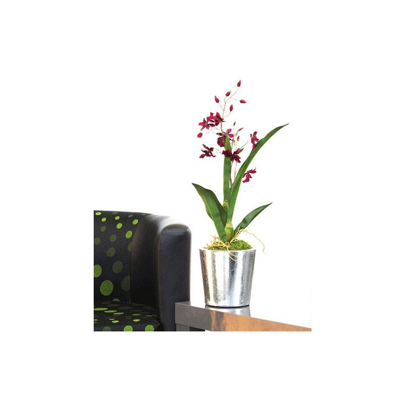 Oriental Orchid Vase Silver Foil Pot