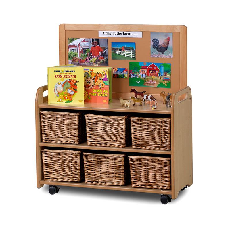 Mobile Medium Storage Unit with Display Top Panel – Baskets